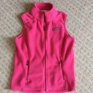 Vineyard Vines pink fleece vest size S